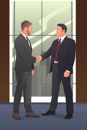 dandose la mano: Una ilustraci�n vectorial de los hombres de negocios d�ndose la mano