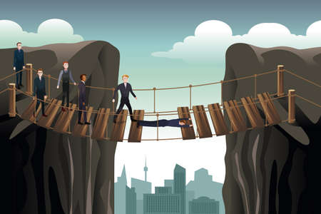 solver: A vector illustration of businessmen helping his colleagues crossing the damaged bridge for teamwork concept