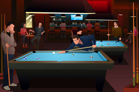A vector illustration of people playing billiard