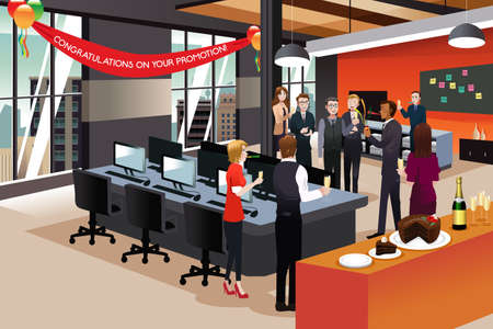 job promotion: A vector illustration of businesspeople celebrating their colleague promotion Illustration