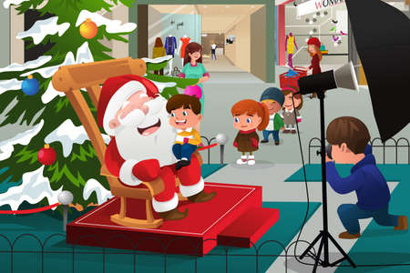 A vector illustration of kids lining up in the mall waiting to take pictures with Santa Claus Ilustracja
