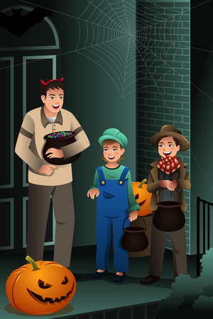 trick or treat: A vector illustration of little kids wearing Halloween costumes going out for trick or treat Illustration