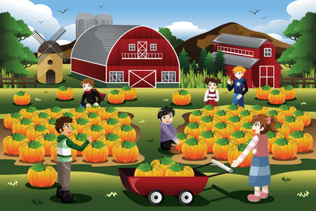 barn girls: A vector illustration of Kids on a pumpkin patch trip in autumn or fall season