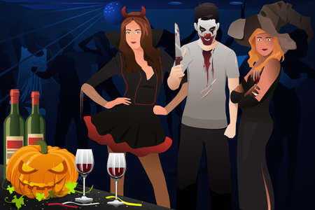 dressing up: A vector illustration of adult dressing up in Halloween costume in a party