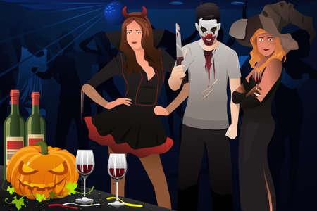 Ein Vektor-Illustration Erwachsenen putzt sich in Halloween-Kostüm in einer Partei Standard-Bild - 45342227