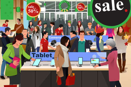 store: Una illustrazione vettoriale di persone shopping su nero venerdì in negozio elettronico