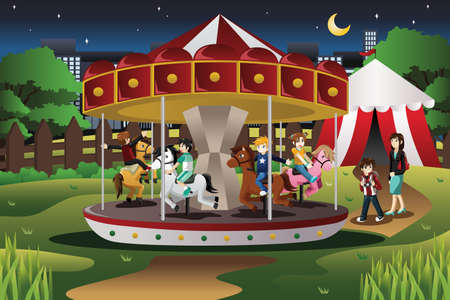 A vector illustration of happy kids riding merry go round in an amusement park Illustration