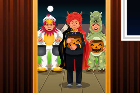 treat: A vector illustration of little kids wearing Halloween costumes going out for trick or treat Illustration