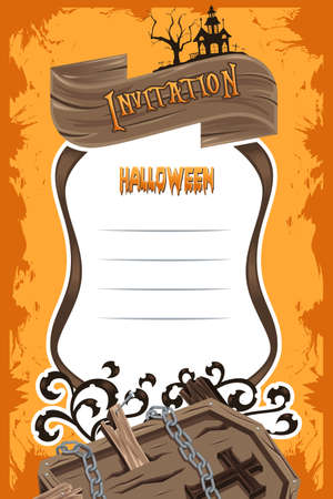 illustration invitation: A vector illustration of Halloween invitation background design