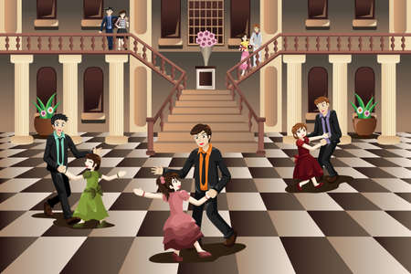 fatherhood: A vector illustration of father dancing with his daughter in the ballroom