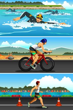 competition: Una ilustración vectorial de deporte de triatlón de serie de la competición deportiva