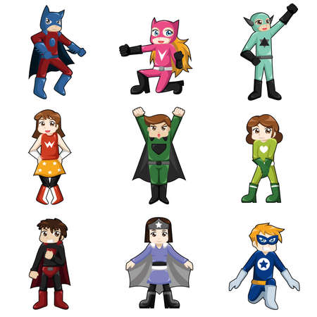 A vector illustration of kids wearing superheroes costume Illustration