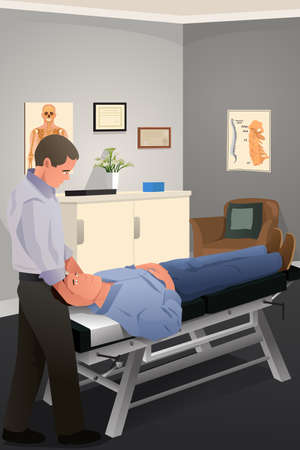 physical therapist: A vector illustration of male chiropractor treating a patient