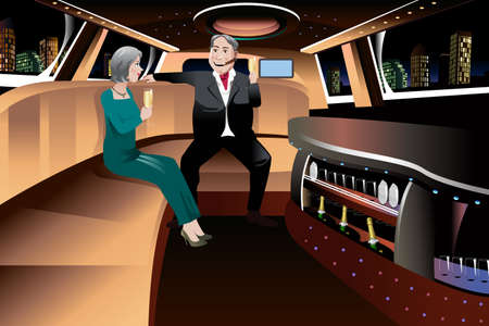 A vector illustration of romantic retired couple enjoying champagne in a limousine