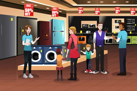 A vector illustration of happy family shopping for appliances in the store