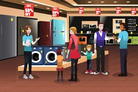 Eine Vektorillustration des glücklichen Familieneinkaufens für Geräte im Speicher