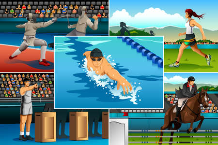 A vector illustration of modern pentathlon sport for sport competition series Ilustração