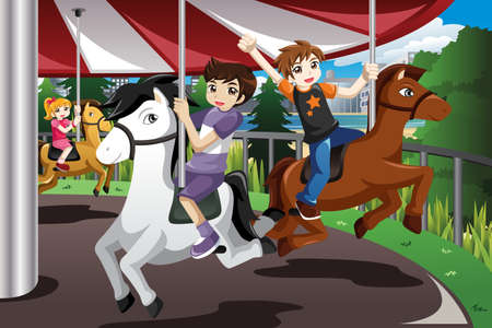 A vector illustration of happy kids riding merry go round in an amusement park Иллюстрация