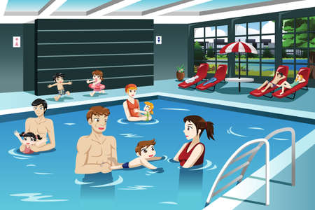 A vector illustration of happy parents and babies having swimming lesson Ilustração