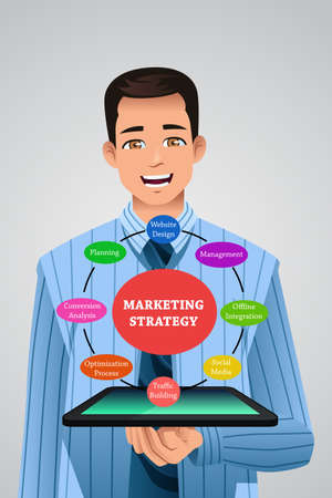 offline: A vector illustration of businessman showing marketing strategy from his tablet