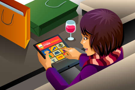 A vector illustration of modern woman shopping online for Cyber Monday sale