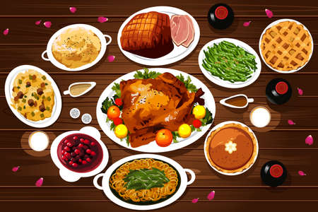 A vector illustration of food of thanksgiving dinner on the table viewed from above Vectores