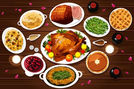 accion de gracias: Una ilustraci�n vectorial de alimentos de la cena de acci�n de gracias en la mesa se ve desde arriba