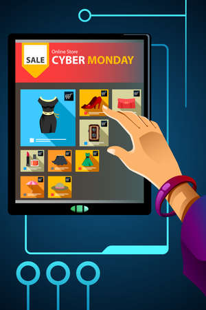 A vector illustration of shopping online for cyber Monday sale Иллюстрация