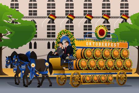 people celebrating: A vector illustration of people celebrating Oktoberfest