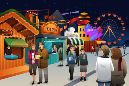 A vector illustration of people going to amusement park Illustration
