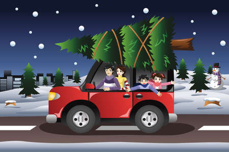 family van: A vector illustration of family in a van buying  a Christmas tree