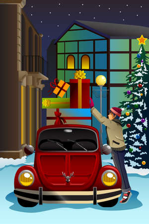 cartoon christmas tree: A vector illustration of man driving car with a lot of Christmas presents on the top of the car