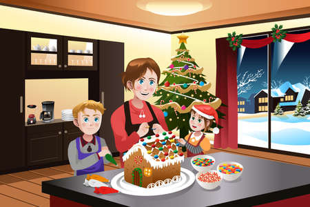 child girl: A vector illustration of mother making gingerbread house with her kids together