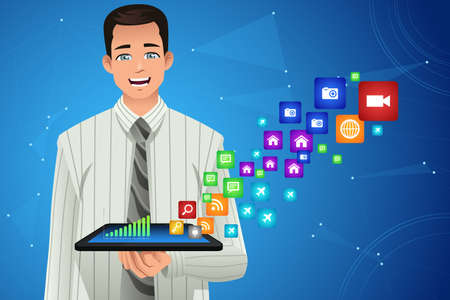 multimedia icons: A vector illustration of businessman showing multimedia icons from his tablet Illustration