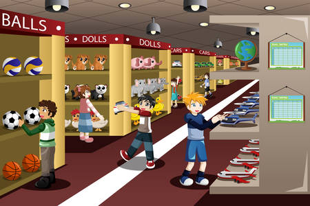 A vector illustration of kids looking at toys in a toy store