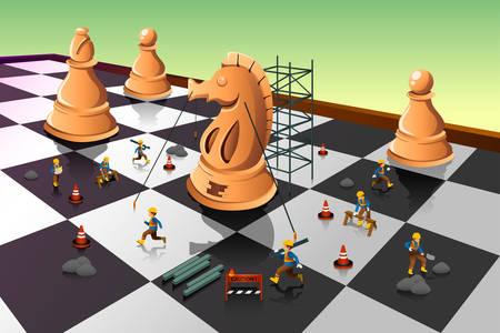 caballo de ajedrez: Una ilustraci�n vectorial de trabajadores que construyen un ajedrez caballero y el tablero de ajedrez de la estrategia concepto