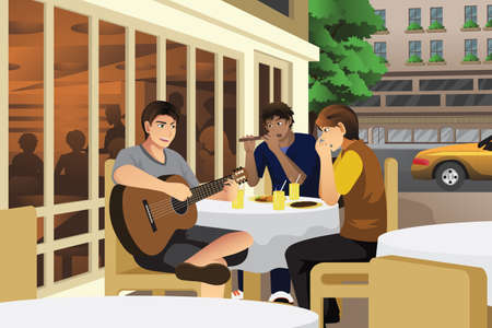 guy playing guitar: A vector illustration of young men playing music in cafe together Illustration