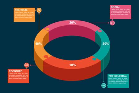 gestion empresarial: Una ilustración vectorial de Política Económica Infografía Tecnológico Social Vectores