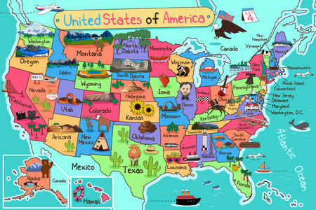 state: A vector illustration of USA map in cartoon style