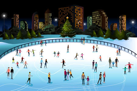 A vector illustration of people skiing outdoor in the city Ilustrace