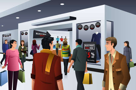 A vector illustration of people shopping on black friday in department store