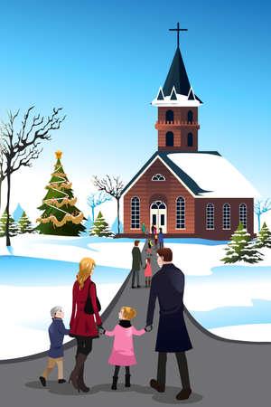 familia en la iglesia: Una ilustración vectorial de la gente va a la iglesia para celebrar la Navidad