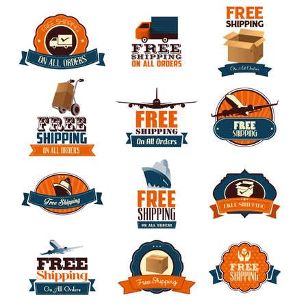 A vector illustration of free shipping retro icon sets Ilustracja
