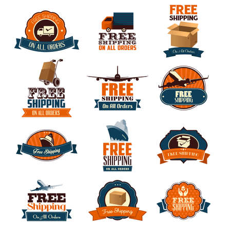 A vector illustration of free shipping retro icon sets Illustration