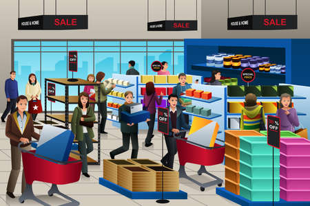 A vector illustration of people shopping on black friday in a store Иллюстрация