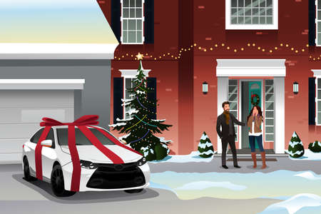 wife: A vector illustration of husband giving his wife a car as a Christmas gift Illustration