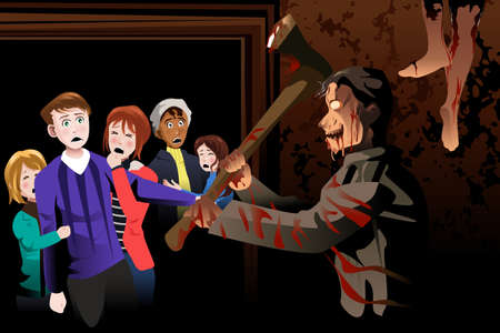 A vector illustration of young people inside scary house at theme park Illustration
