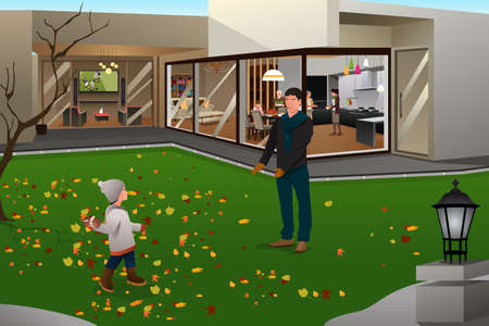 family playing: A vector illustration of father playing football with his son outside on Thanksgiving