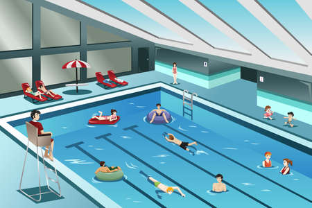 A vector illustration of people going swimming indoor