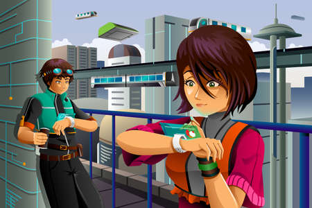 futuristic city: A vector illustration of people wearing high tech watch